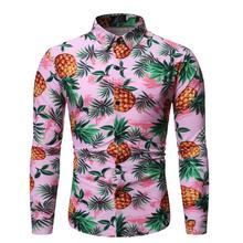 Mens Shirt Casual Pineapple Long sleeve Fashion Flower Social for clothing Blouse Men New