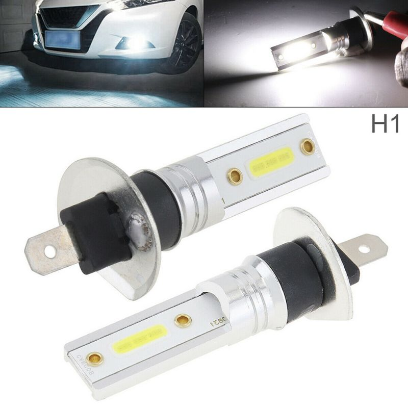 2pcs Car Accessories H1 COB LED Headlights High 6500K Driving Light Bulbs White Light