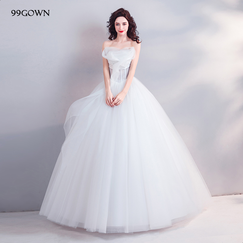 99gown Luxury Tulle Women Wedding Dresses Sexy Off Shoulder