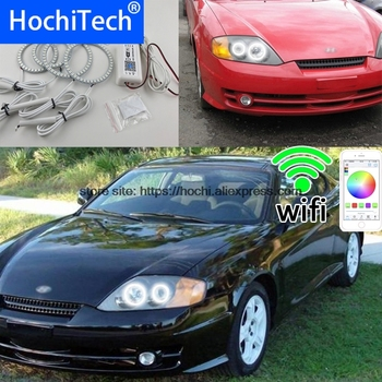 HochiTech Excellent RGB Multi-Color halo rings kit car styling for Hyundai Tiburon 2003-2006 angel eyes wifi remote control