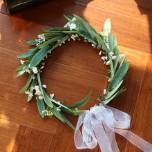 women flower headband Artificial Wreath Flowers festive wedding party decoration supplies props rattan leaves headband girl цена и фото