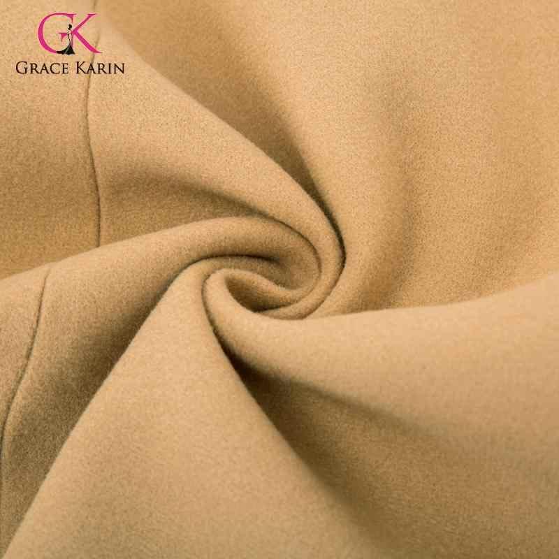 Grace karin 2020 mistura de lã inverno casaco manga longa lapela trench coat feminino inverno quente longo peacoat outwear elegante feminino
