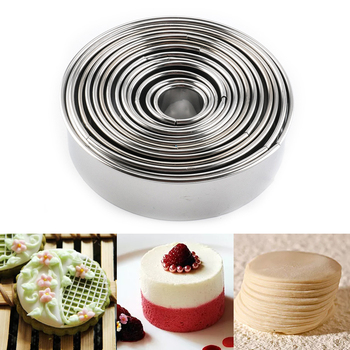 14pcs/Set Stainless Steel Round Cookie Moulds Practical Biscuit Cutters Circle DIY Mousse Cake Dessert Pastry Decorating Tool