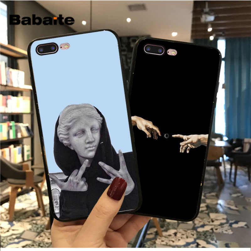 Babaite Vintage Plaster Statue David Art Printing Black Soft Phone Case for iPhone 8 7 6 6S Plus X XS MAX 5 5S SE XR Fundas Capa