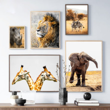 Wild Africa Lion Zebra Giraffe Rhinoceros Wall Art Canvas Painting Nordic Posters And Prints Wall Pictures For Living Room Decor