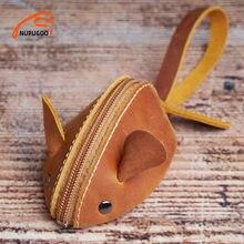 Vintage Mini porte-monnaie en cuir véritable petit portefeuille hommes femmes marron mode mignon souris sac de rangement tendance fermeture éclair poche NUPUGOO