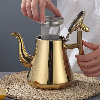 1/1.5/2L Tea Pot With Filter Gold Thicker Hotel Coffee Pot Restaurant Induction Cooker Tea Kettle Stainless Steel Water Kettle 2