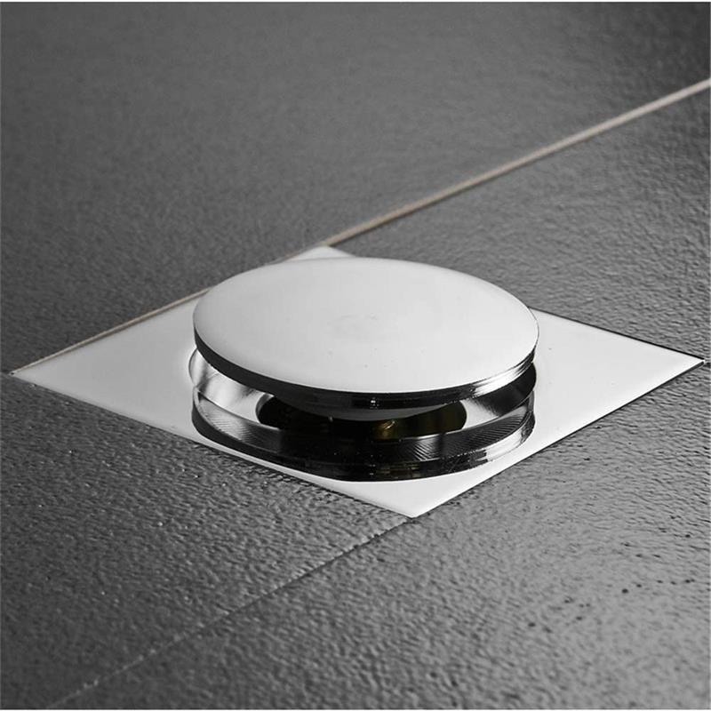 Пол слив латунь квадрат всплывающее окно вверх пол слив пол крышка толкание вниз душ слив заглушка защита от запаха ванная туалет туалет слив
