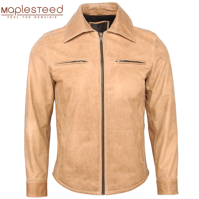 Men's Leather Jacket 100% Sheepskin Soft Thin Slim Fit Ginger Yellow Men Leather Jacket Man Skin Coat Autumn Male Clothing M358