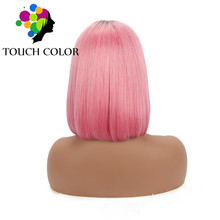 Brazilian Straight Lace Front Wig Short Bob Wigs For Black Women Ombre Colored Pink Remy Human Hair 13x4 Lace Wig With Baby Hair стоимость