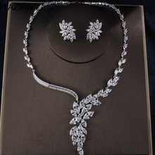 Irregular design Silver Cubic Zirconia Necklace Drop Earrings Dubai Wedding Bridal Jewelry Sets Party Prom jewelry Accessories high grade bridal wedding flowers dream korean drop necklace earrings hollow butterfly jewelry sets married bride jewelry