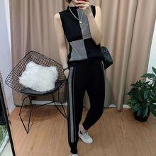 2020 verão duas peças conjunto de moda feminina sem mangas colete strass 2 peça conjunto feminino cintura alta casual malha agasalho