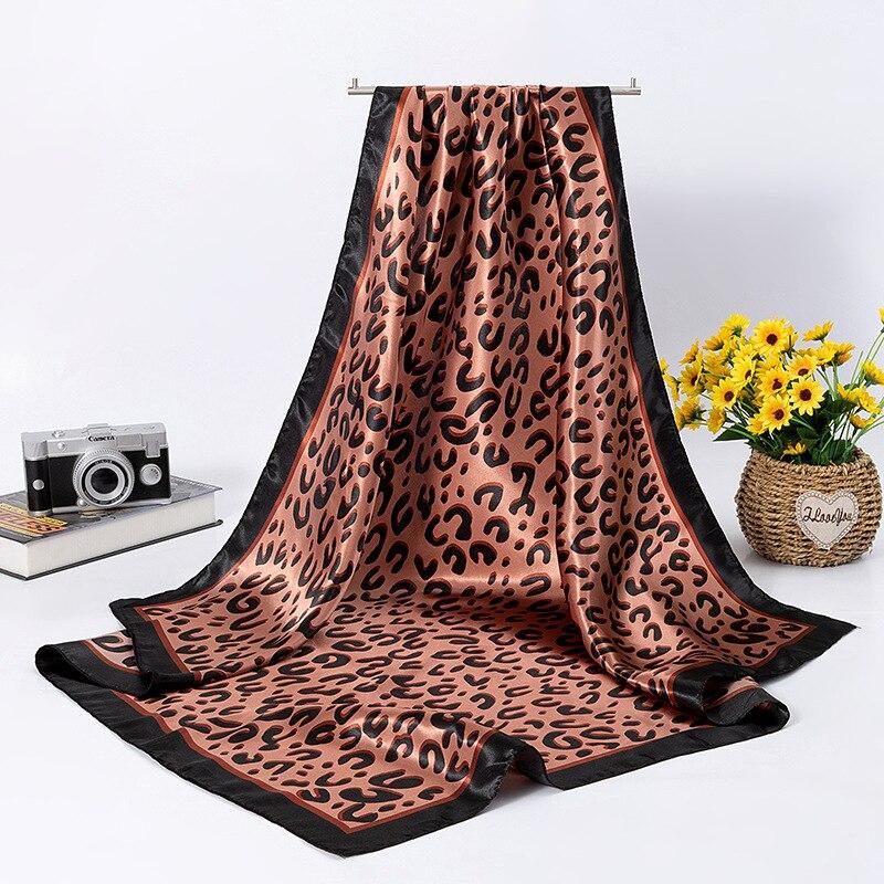 Muslim Hijab Spring Summer Gift Silk Satin Generous Scarf Leopard-print Scarf Shawl Women's Silk Scarf 90CM