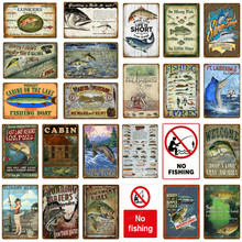 Decoração de barco de pesca, sinais vintage de lata, decoração retrô para parede, casa, lago, armário, presente, lançadores de metal placa de placa