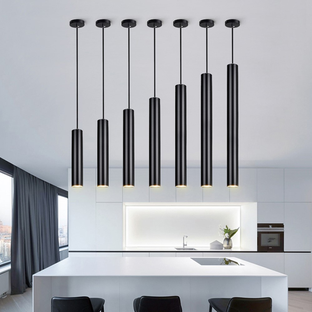 Dimmable LED Pendant Light Long Tube lamp Cylinder Pipe Hanging Lamps Kitchen Island Dining Room Cord Pendant Light Kitchen Lamp