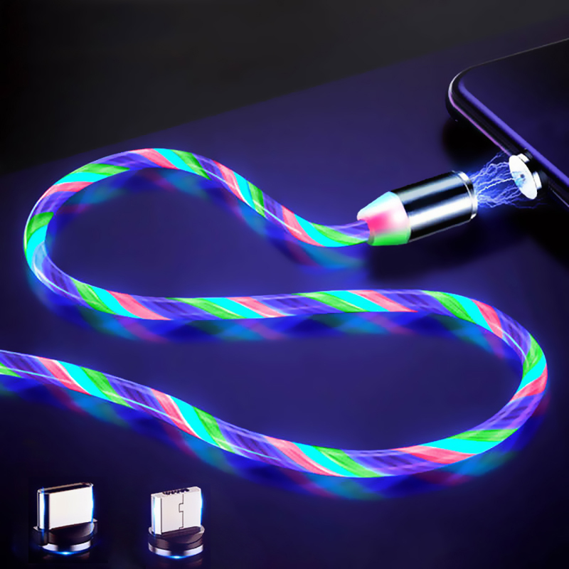 LED Glow Flowing Magnetic Charger Cable Luminous Lighting Fast Charging Micro USB Type C For iPhone Android Phone USBC Wire Cord|Mobile Phone Cables|   - AliExpress