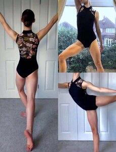 Image 3 - בלט בגדי גוף ריקוד נשים 2020 סגנון חדש הדפסת רוכסן התעמלות ריקוד תלבושות למבוגרים גבוהה צווארון בלט בגד גוף