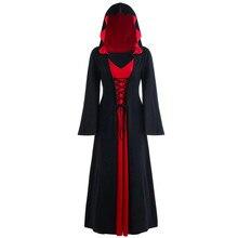 Платье на Хэллоуин для женщин, модное женское, плюс размер, Хэллоуин, с капюшоном, на шнуровке, пэчворк, длинный рукав, платье K919