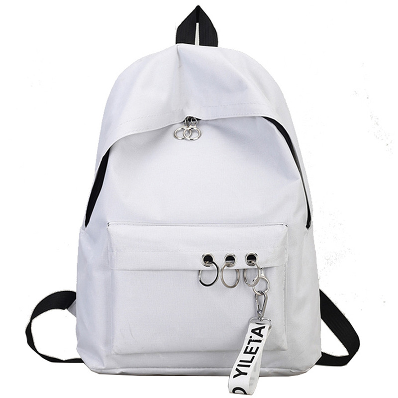 Simple Casual Backpack Solid Color Backpack Female Bag Canvas College Wind Backpack White
