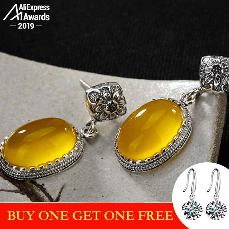 Tidak Palsu S925 Sterling Silver Ukraina Amber Stud Anting-Anting Antik Toko Lituania Retro Chalcedony