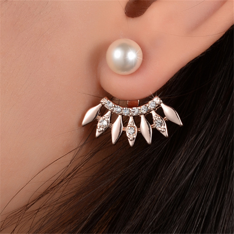 Geometric Full Crystal  Earrings  Rhinestone Imitation Pearl Earrings For Female