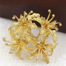6 uds. De flores de Lycoris Radiata para decoración, Latón para Decoración de Metal y abalorios, Color dorado y plateado, accesorios de suministros de joyería