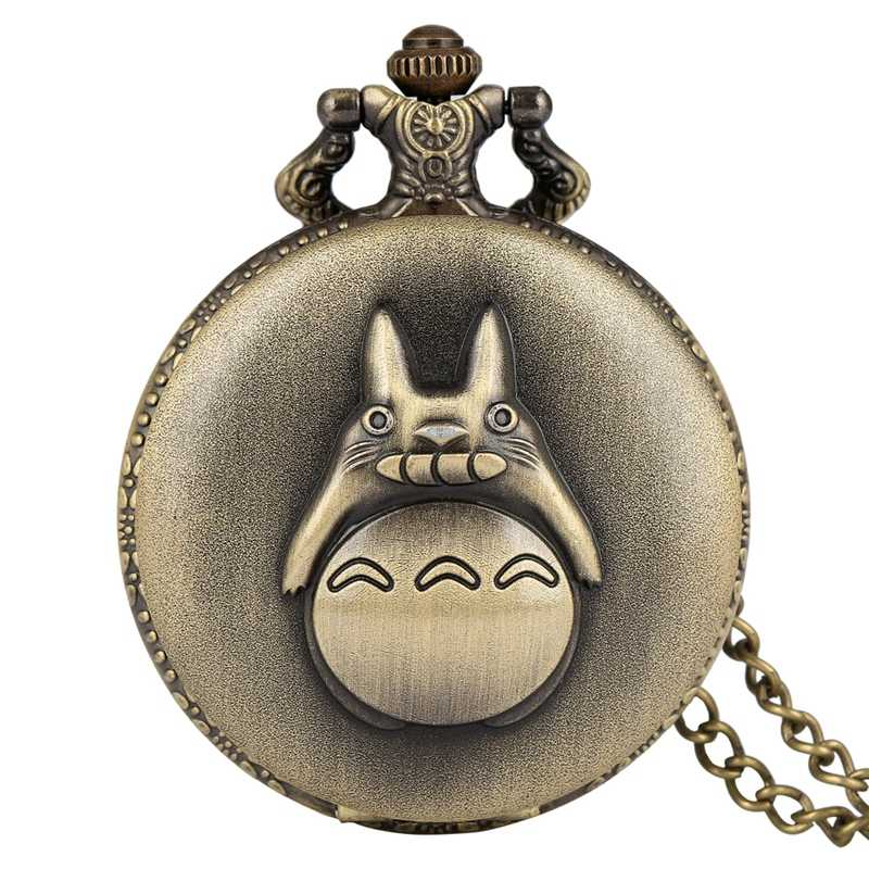 Bronze Retro Totoro Quartz Pocket Watch Chain Fashion My Neighbor Totoro Pendant Necklace Jewelry Gifts for Men Women Students