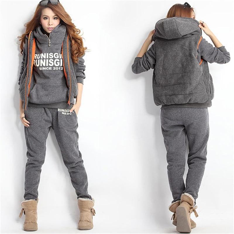Women's Sport Sets Casual Letter Print Tracksuits Autumn Winter 3 Piece Set Hoodies + Vest + Pants Warm Sport Suit Plus Size 6XL