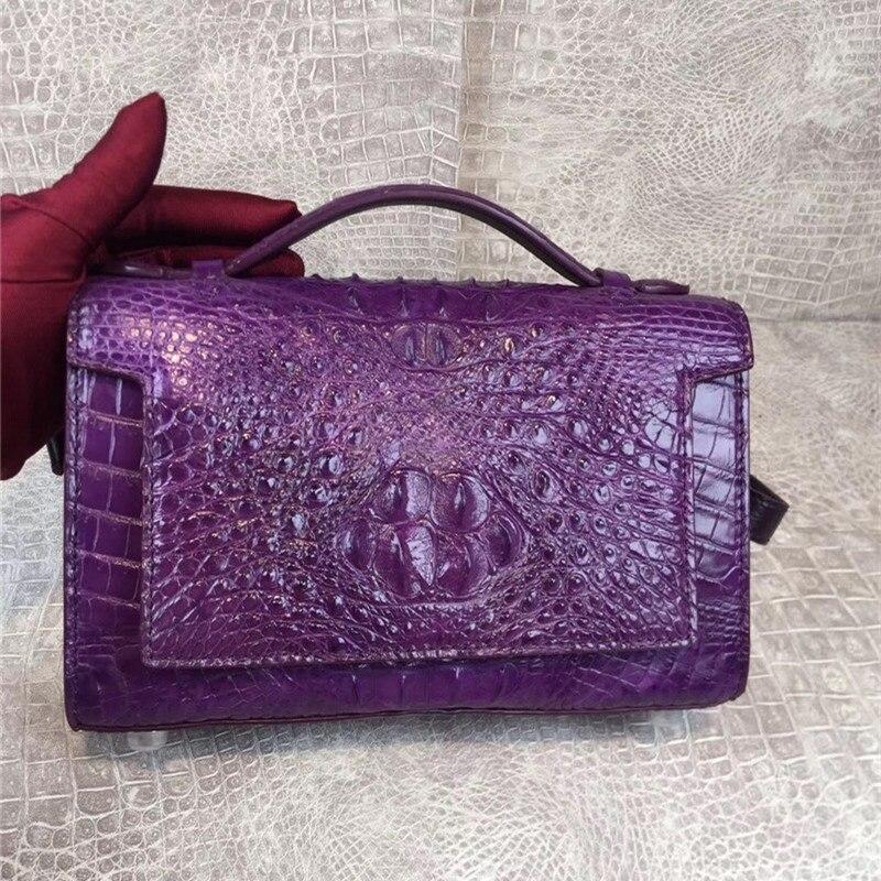 Genuine Exotic Crocodile Skin Women Cross Bag Lady Purple Flap Purse Authentic Real Alligator Leather Female Single Shoulder Bag