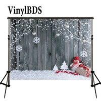 Винилбдс семья Рождество тема Снеговик фотографические фоны дети деревянная стена снежинка фон конфеты трость для детской фотографии