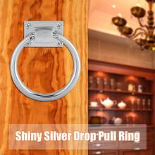 Furniture Handle Shiny Silver Drop Pull Ring Wooden Door Knocker Chair Pulls Handle 111x56x38mm(China)