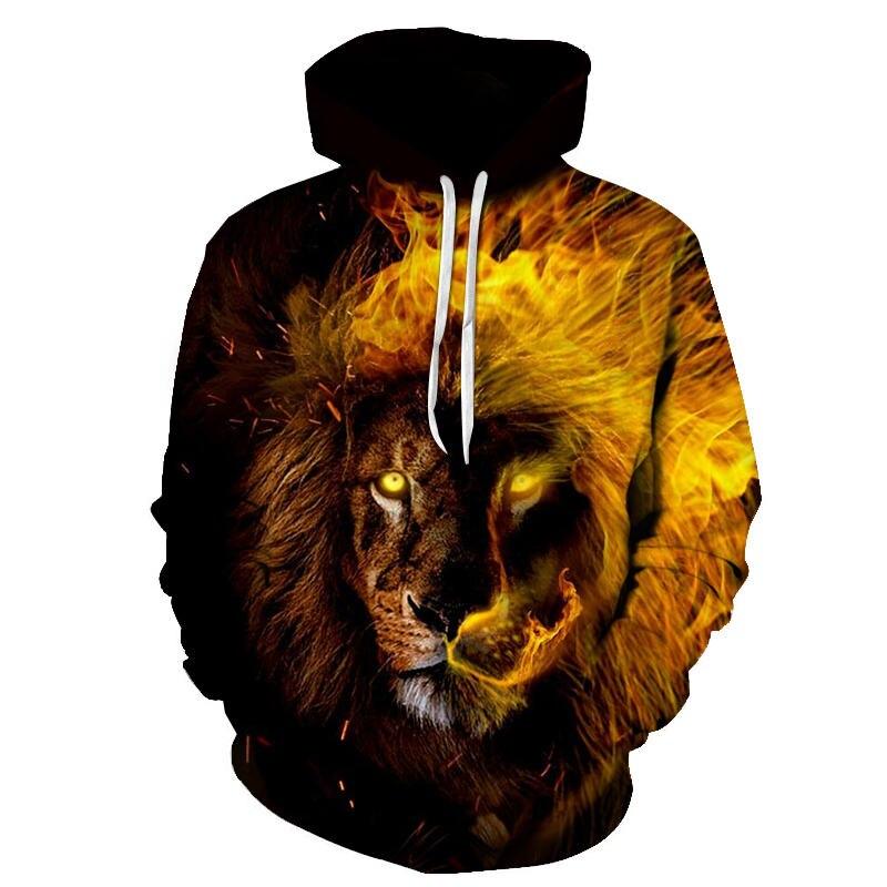 Men Hoodies Hip Hop Sweatshirt Funny 3D Flame Tiger Lion Fashion Brand Plus Size S - 6XL Hoodie Men Tracksuit Unisex Pullovers