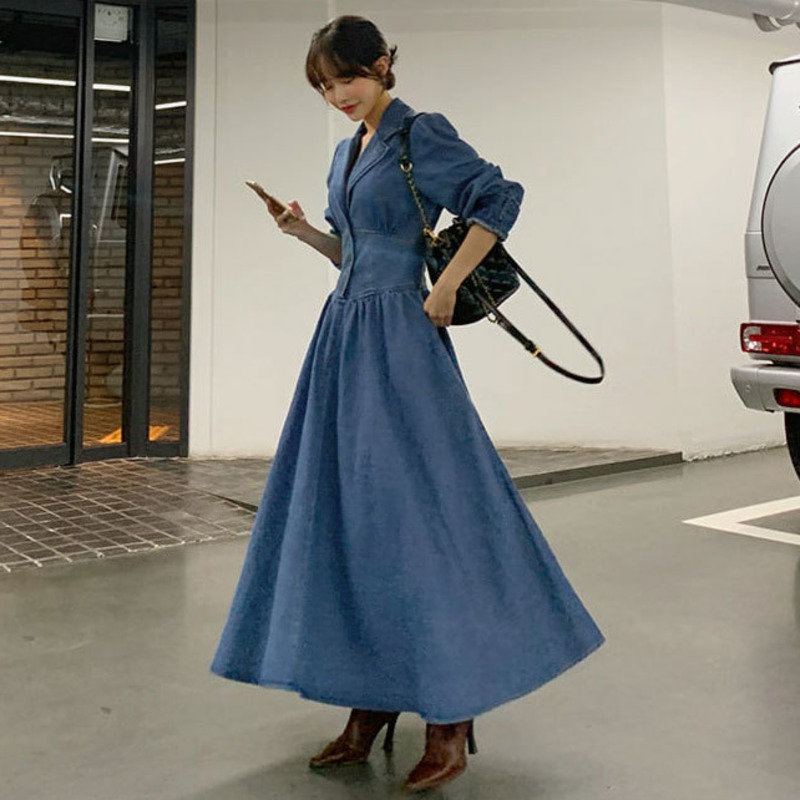 SHENGPALAE 2019 New Fashion Autumn Suit Collar Long Solid Denim Dress Women Slim Casual Tide High Street Vestidos Female A114