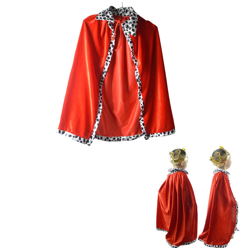 Boy Girl King Prince Crown Vampire Witch Devil Cloak Child CosplayCarnival Birthday Party Halloween Costume For Kids Carnival
