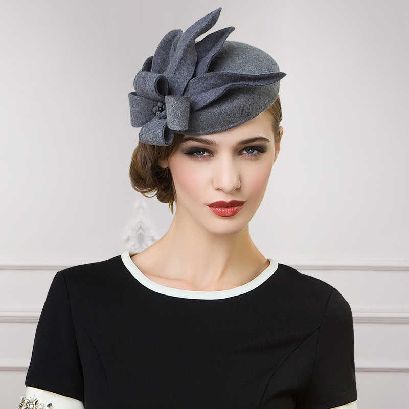 Women Fascinators Pillbox Wool Hat Winter Vintage Felt Festival Party Wedding Ladies Women Fedoras with Fascinating Floral A302