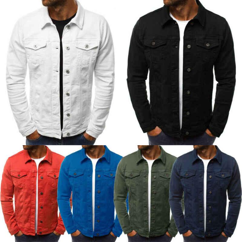 Gli uomini Del Denim Cappotto Giacca di Jeans Tasca Casual Manica Lunga Slim Fit Outwear Solido Magliette E Camicette
