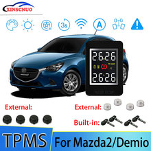 XINSCNUO Car TPMS For Mazda2/Demio Tire Pressure and Temperature Monitoring System with 4 Sensors tn400 wireless tire pressure monitoring tpms system monitor 4 internal sensors for renault peugeot toyota and all car free ship