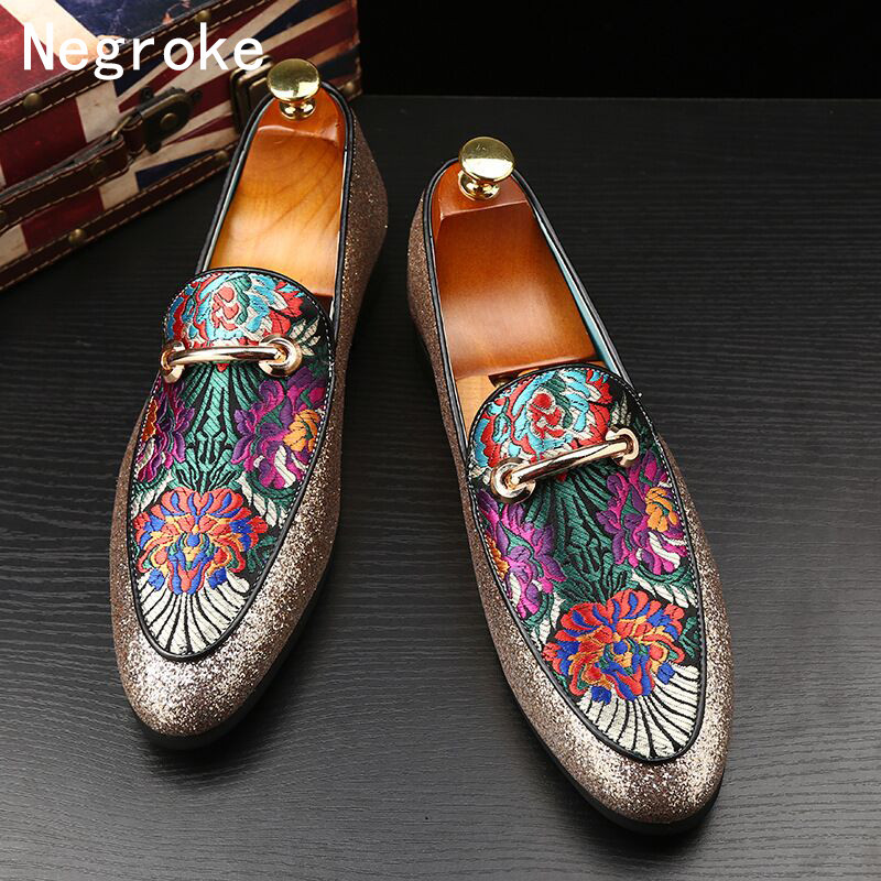 Loafers Men Embroidery Luxury Brand Shoes Flats Driving Slip-On for Party Zapatos Sequins