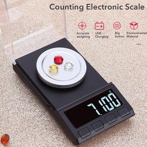 Высокоточные весы для взвешивания ювелирных изделий электронные весы USB для зарядки цифровые весы с платформой для взвешивания 10/20/50/100 г 0,001...