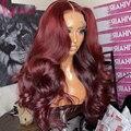 Цветной парик на сетке Ambition 99j, парик с предварительно выщипанным фронтальным шнурком, волнистые человеческие волосы, безклеевой парик на с...