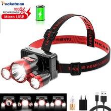 Pocketman P900+ Side Light Built-in Battery LED Headlamp 4 Modes USB Rechargeable Headlight Waterproof Head Lamp Head Torch