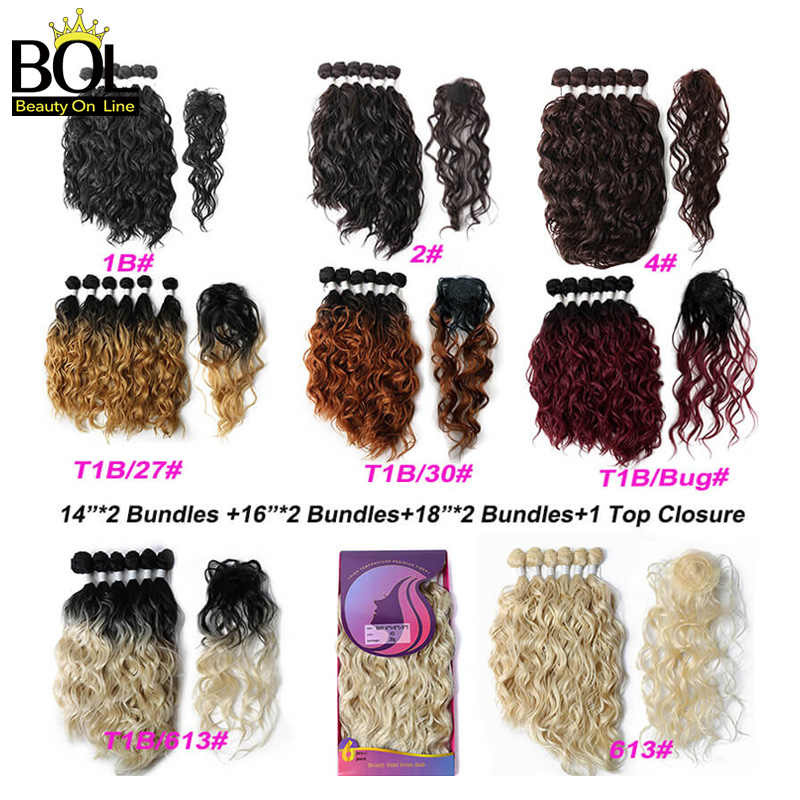 Natural Wave Synthetic Hair Bundles 6 Bundles(14*2+16*2+18*2) with Closure High Temperature Resistan Fiber Hair Extensions