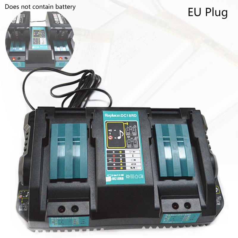 Double Battery Charger For Makita 14.4V 18V BL1830 Bl1430 DC18RC DC18RA EU Plug