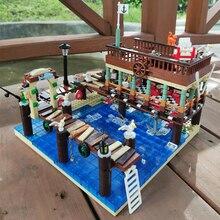 Ideas Creator expert Street View The old Fish Store House Pier Captain Wharf Shipyard Moc Modular bricks Model Building Blocks