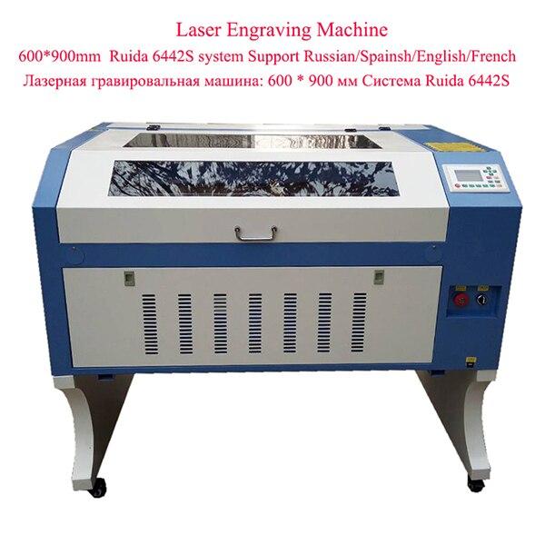 Free Shipping 6090 Ruida System Glass Engraving Machine For Sale 80W Mini Laser Cutter JIN ZHI YIN