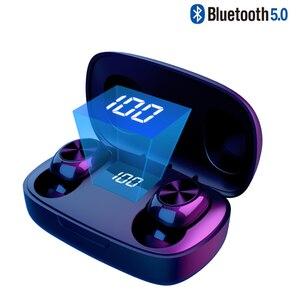 TWS Bluetooth наушники с кнопкой управления, беспроводные наушники со светодиодным дисплеем, IPX7 водонепроницаемые шумоподавляющие наушники с ми...