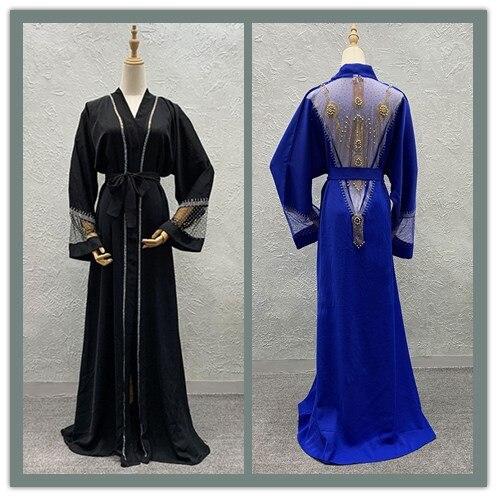 Eid Ramadan Abaya Kimono Cardigan Embroidery Hijab Muslim Dress Kaftan Dubai Arabic Turkish Islamic African Dashik Bazin Niqab