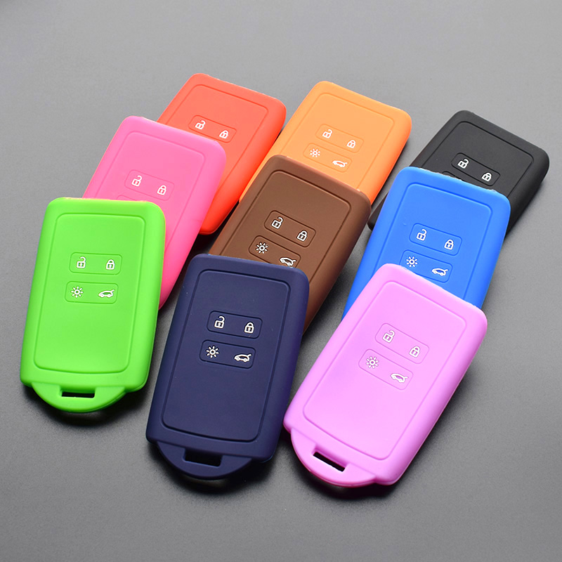 Silicone Car Key Fob Cover Case Shell Holder For Renault TALISMAN CAPTUR Espace Clio Megane Koleos 2016 2017 Card Remote Keyless