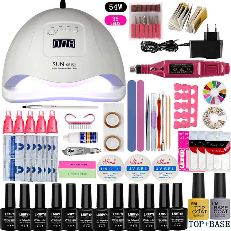 Kuku Set UV LED Lamp Pengering dengan 12 Pcs Kuku Gel Polandia Kit Rendam Off Manikur Alat Set Electric Kuku mata Bor untuk Nail Art Alat
