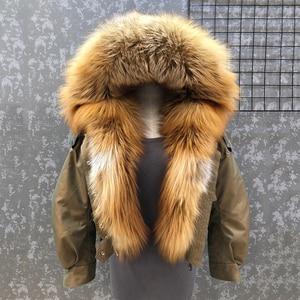 Image 1 - Abrigo de piel de zorro a la moda para mujer, forro desmontable, línea de piel de cordero de alta calidad, cazadora de estilo corto S7652